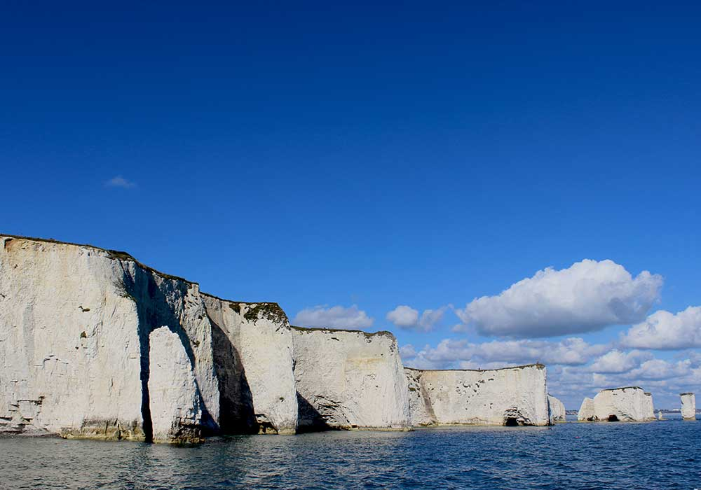 Old Harry Rocks from the water - City Cruises Poole