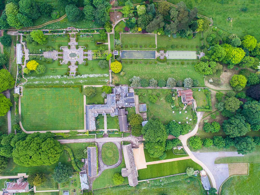 Aerial view of Mapperton House and Gardens