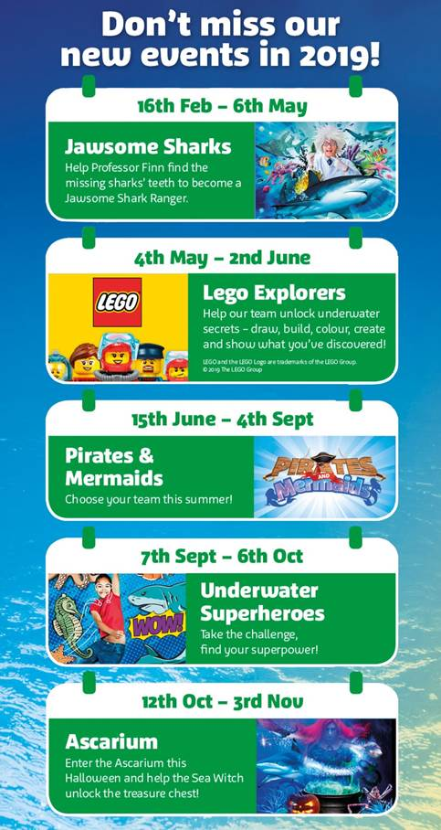 2019 Events at Weymouth SEA LIFE Centre
