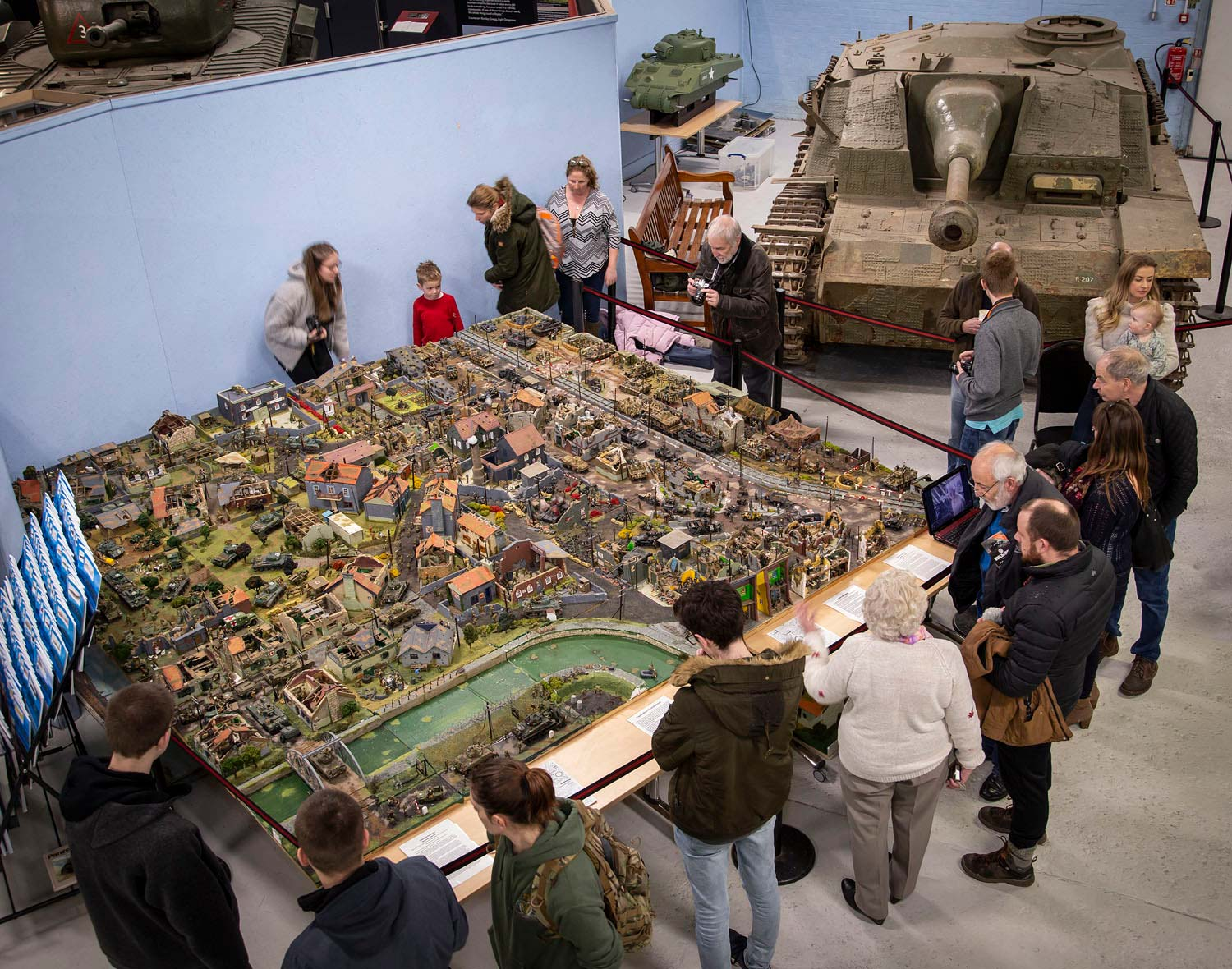 A giant scale model of a WW2 scene installed at The Tank Museum
