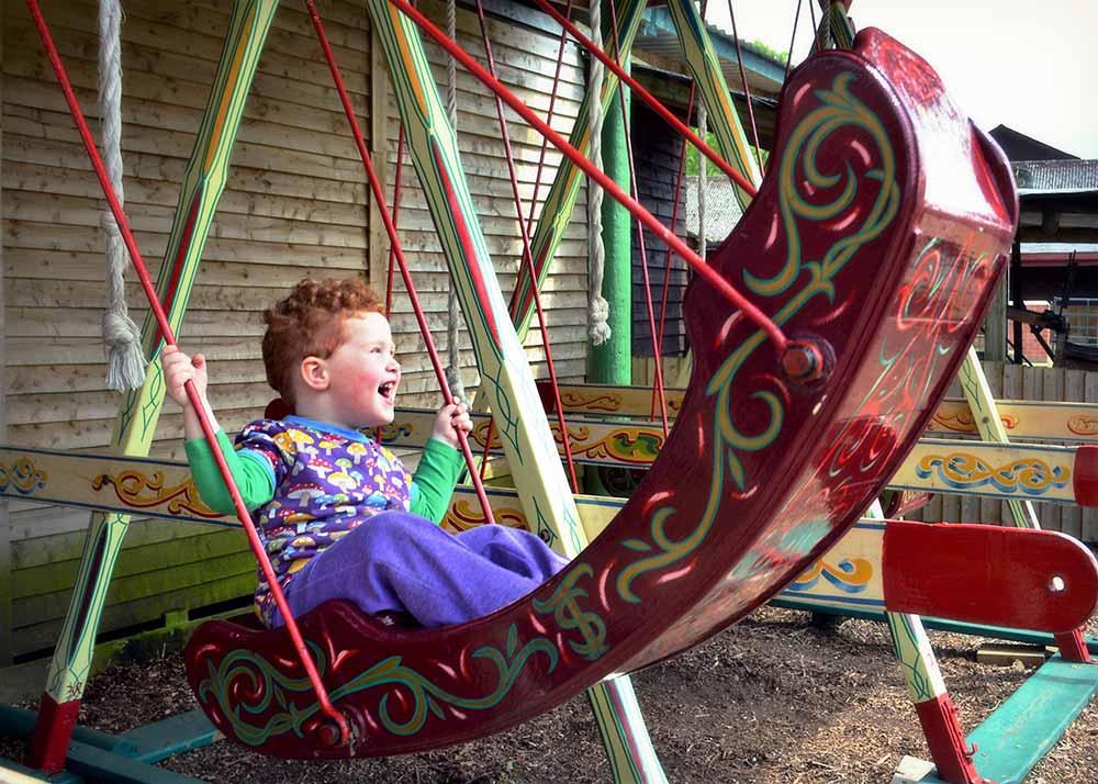 Fun on the swings at Dorset Heavy Horse Farm Park