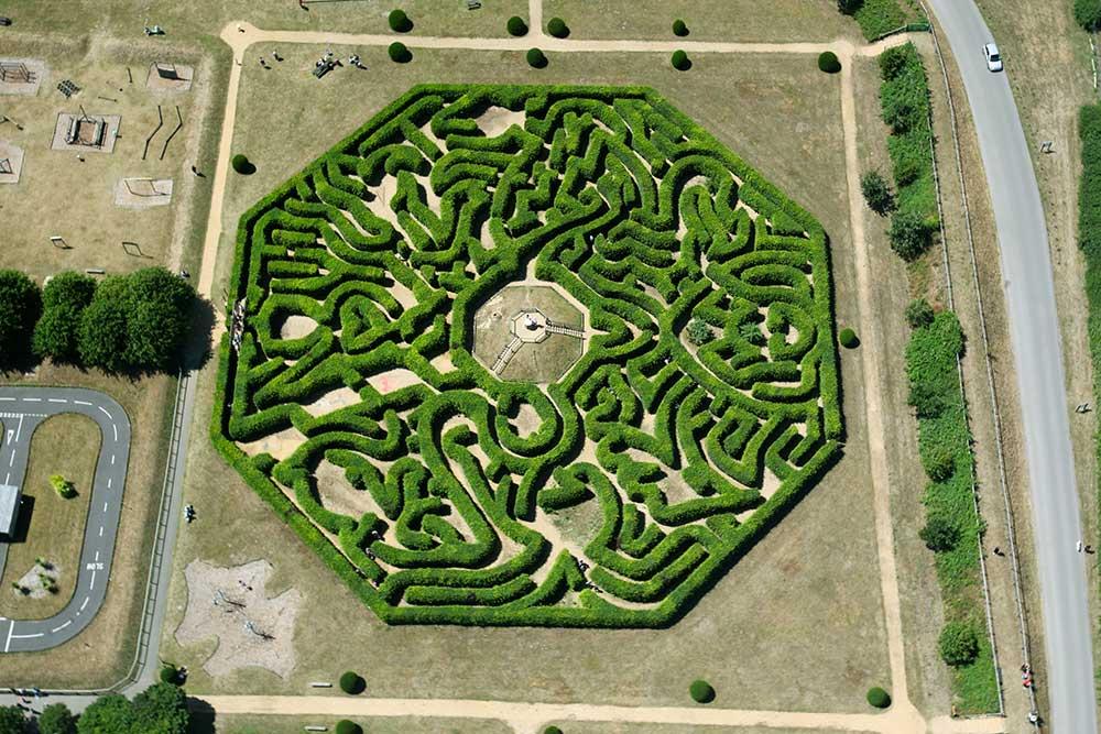Huge hedge maze at Adventure Wonderland