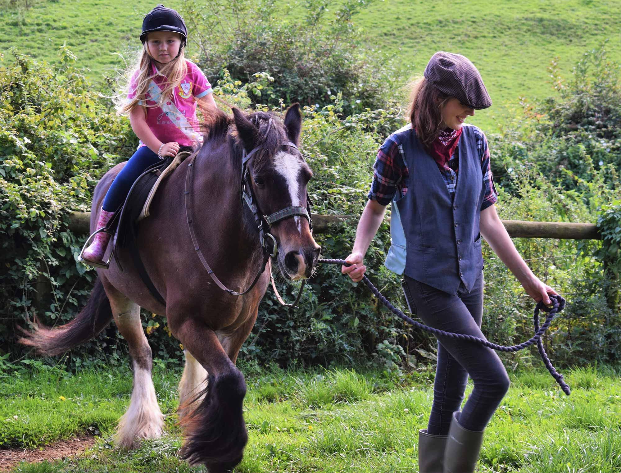 Kids horse riding at Dorset Heavy Horse Farm Park
