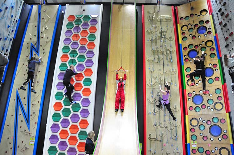 The Clip N Climb Walls at Rockreef in Bournemouth