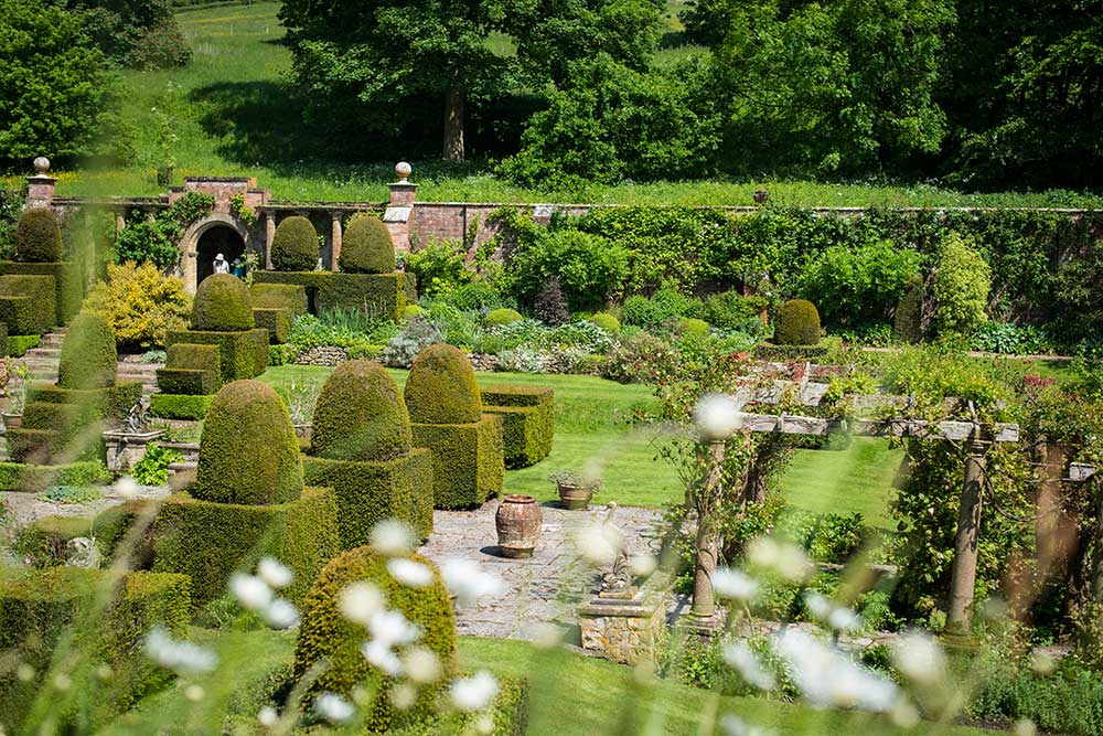 Looking down at the Fountain Court at Mapperton Gardens in Dorset